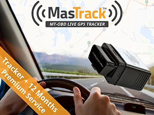 MasTrack OBD Real Time GPS Vehicle Tracker with 12 Months of 1 Minute Service